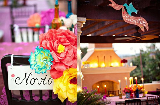 photo of vibrant destination wedding colorful reception decor