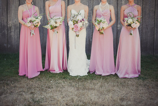 light pink mix match bridesmaids dresses