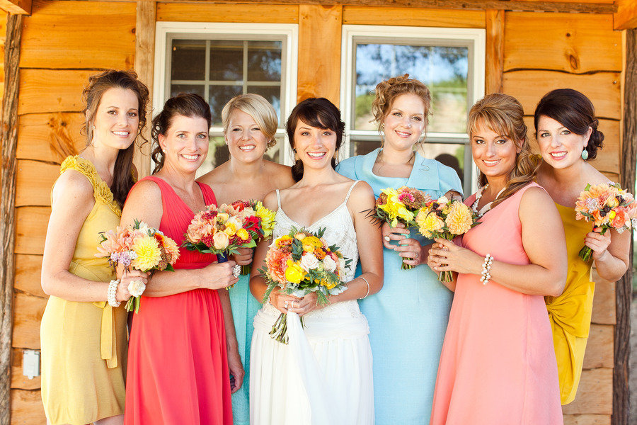 colorful mix match bridesmaids dresses rustic chic wedding