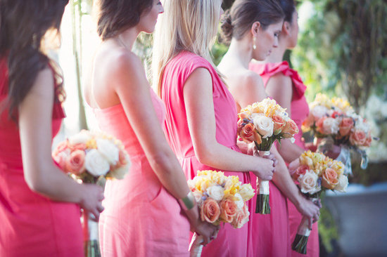 mix match bridesmaids in pink