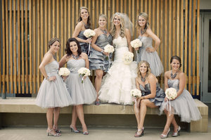 photo of mix and match bridesmaids grey tulle frocks
