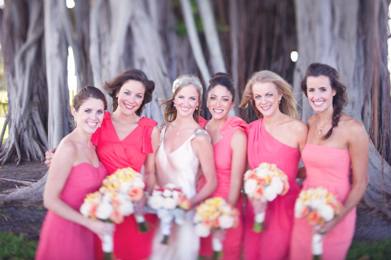 hot pink coral mix match bridesmaids dresses