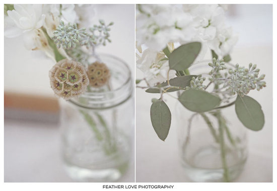 photo of eco chic wedding reception centerpieces simple