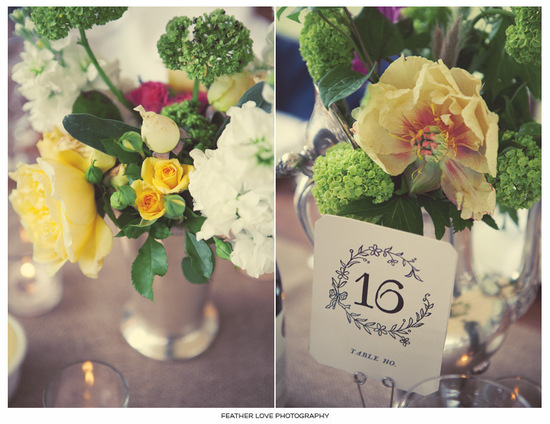 photo of vintage inspired wedding photography bright wedding blooms centerpieces