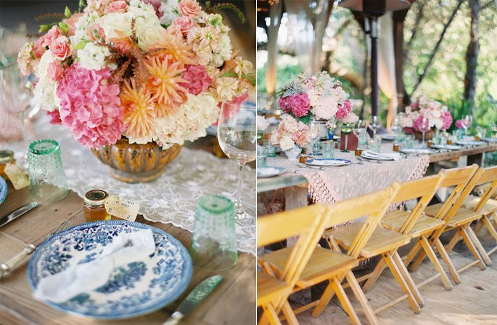 outdoor vintage wedding mix match china