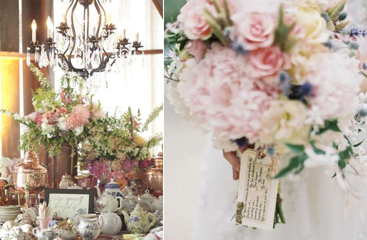 Romantic Vintage Wedding Reception Decor Flowers Pastel Centerpieces