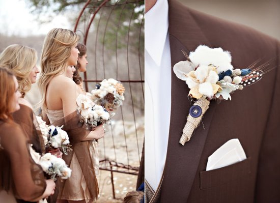 cotton wedding blooms for vintage inspired weddings