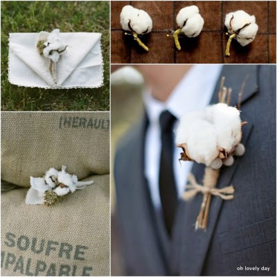 whimsical wedding flowers cotton boutonnieres for groom