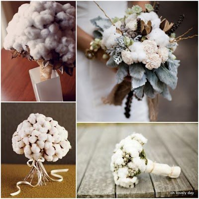 photo of whimsical wedding flowers cotton bridal bouquets