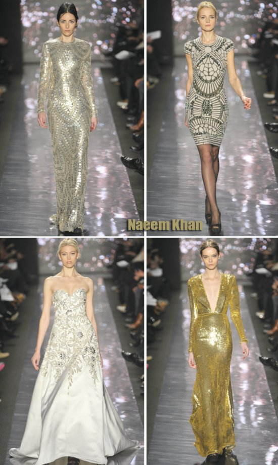 chic 2012 bride wedding dress inspiration spring 2012 rtw naeem khan gold silver gowns 2