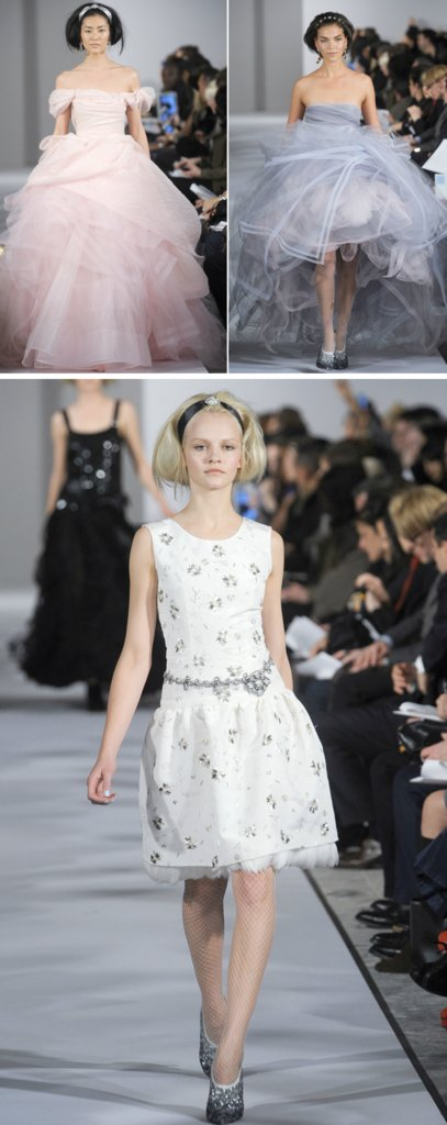 photo of oscar de la renta spring 2012 rtw non white wedding dresses pastels