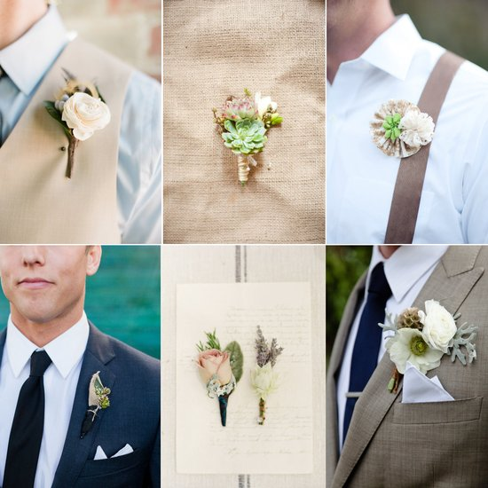 photo of elegant wedding flowers neutral grooms boutonnieres