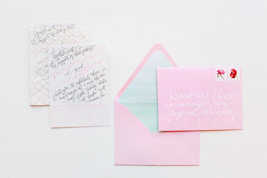 light pink wedding invitation envelopes modern calligraphy