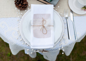 photo of neutral wedding color palette winter weddings tablescape