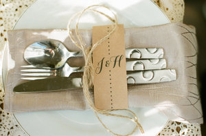 photo of neutral wedding colors reception table place setting