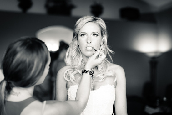 bridal makeup bride gets ready black white photo