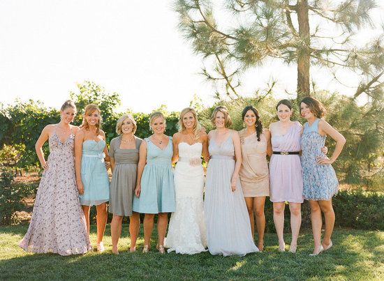 mix and match bridesmaids dresses blue nude grey
