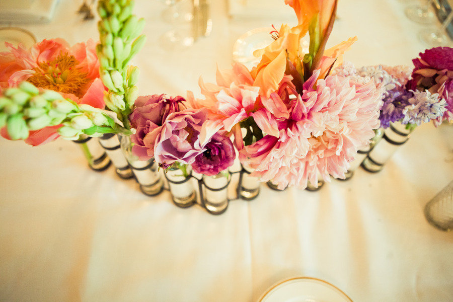 multi colored wedding flowers reception centerpieces