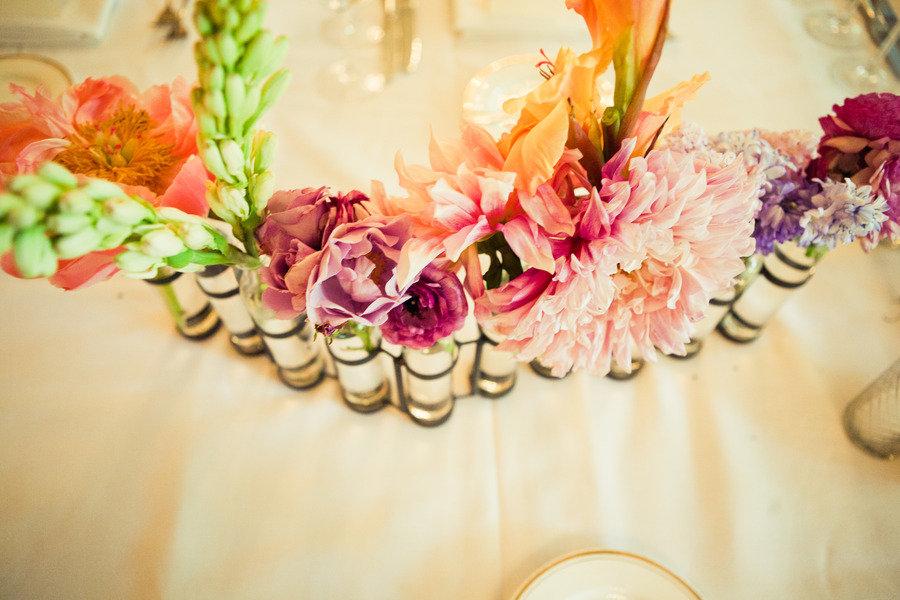 Multi colored wedding flowers reception centerpieces