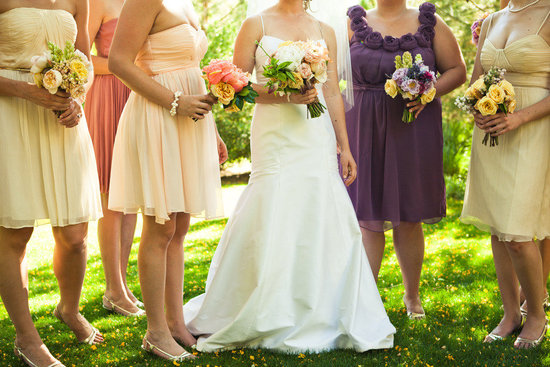 outdoor spring wedding mix and match bridesmaids dresses