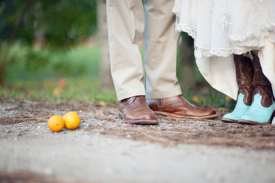 country western bride and groom cowboy boots