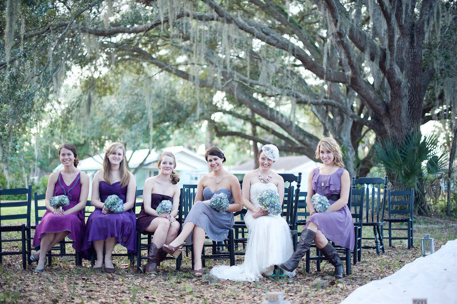 mix and match bridesmaids dresses purple outdoor wedding