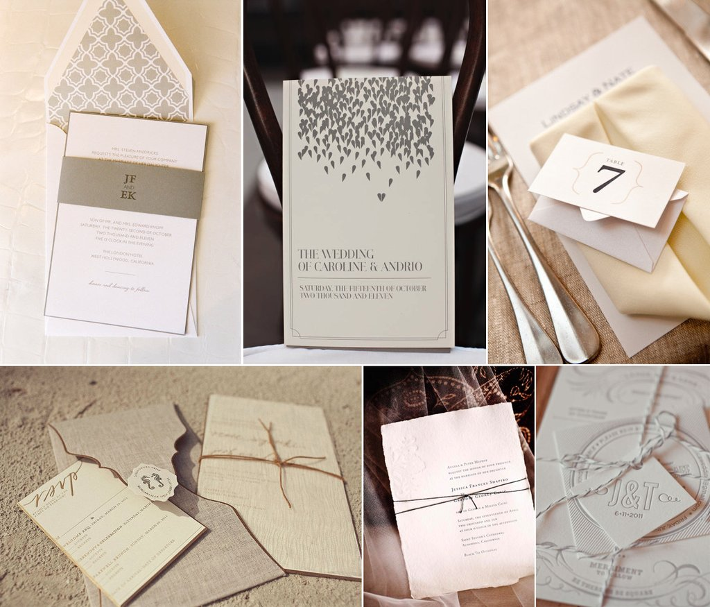 neutral wedding invitations stationery