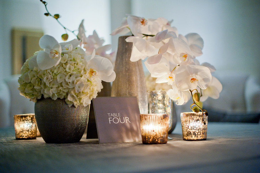 Modern wedding reception decor white orchids centerpieces for Modern table centerpieces