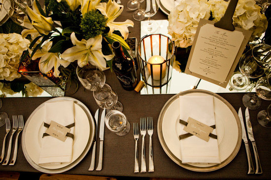 photo of neutral wedding color palette ivory green tablescape