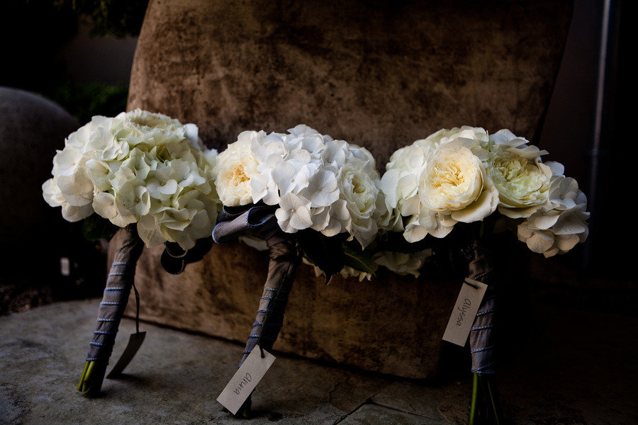 white ivory hydrangea wedding flowers bridesmaids bouquets