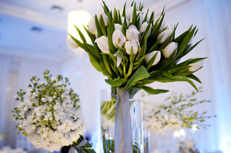 white wedding flowers tulips blue venue lighting