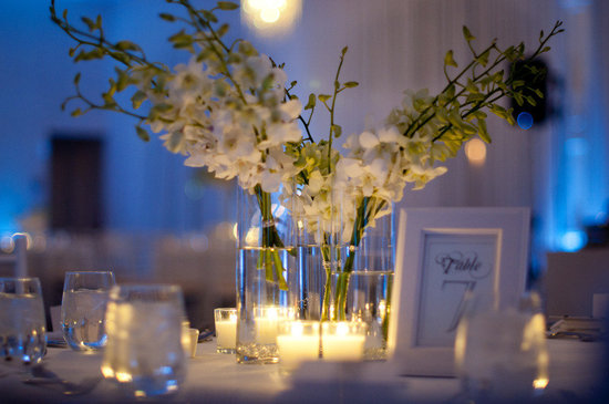 photo of simple wedding reception centerpieces ivory flowers blue lighting