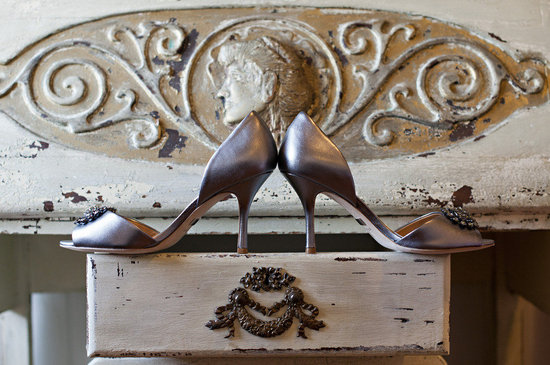 photo of silver wedding shoes romantic wedding photography