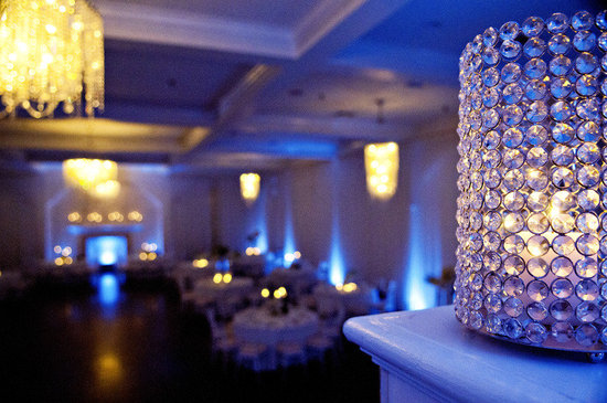 elegant winter wedding blue lighting romantic candlelight