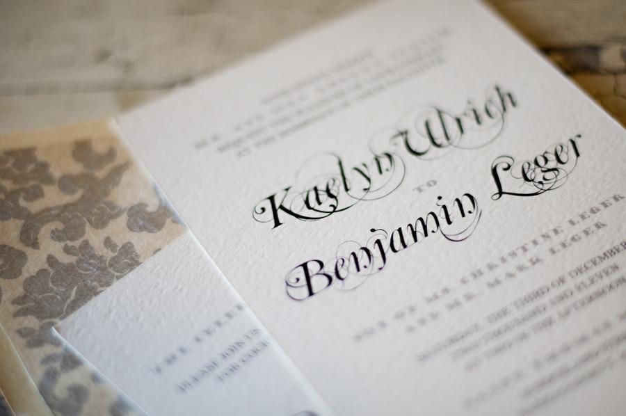 Elegant Wedding Invitations Ivory Letterpress Black Calligraphy