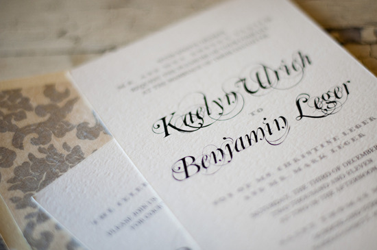 elegant wedding invitations ivory letterpress black calligraphy