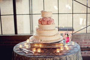photo of romantic wedding cake blush pink wedding flowers