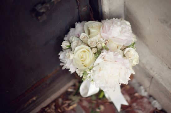 romantic bridal bouquet white ivory green