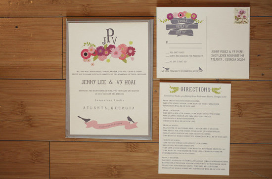 pretty wedding invitations floral motif with custom monogram
