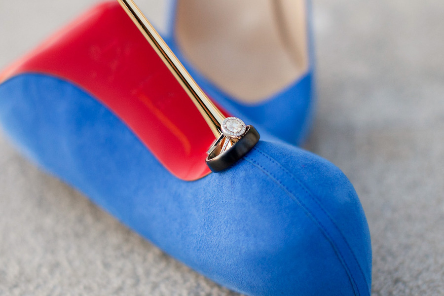 Blue Louboutin Wedding Heels Shot With Rings