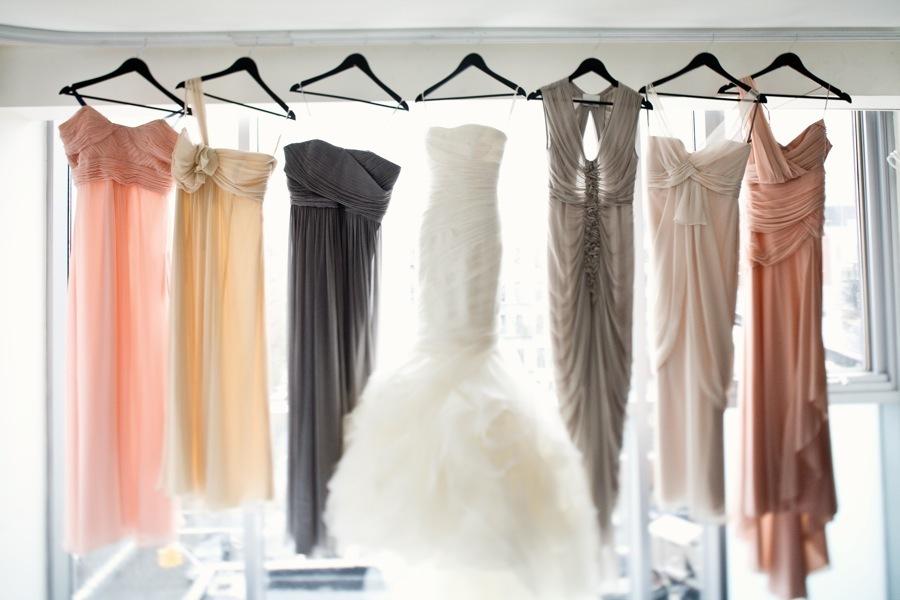 White-mermaid-wedding-dress-mix-match-bridesmaids-dresses.full
