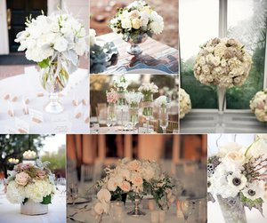 photo of romantic wedding flowers ivory blush tan neutrals wedding centerpieces