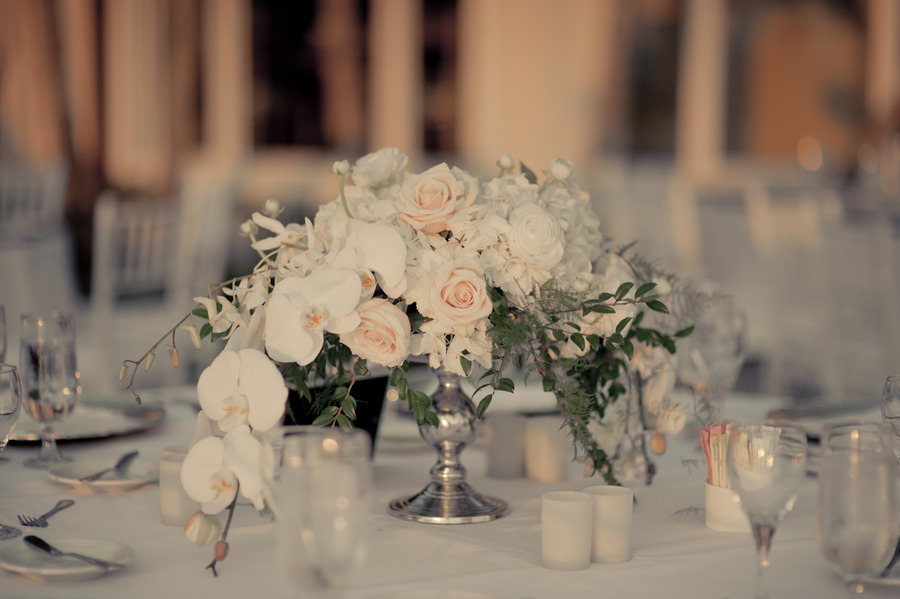 Elegant wedding flower centerpieces orchids roses onewed com