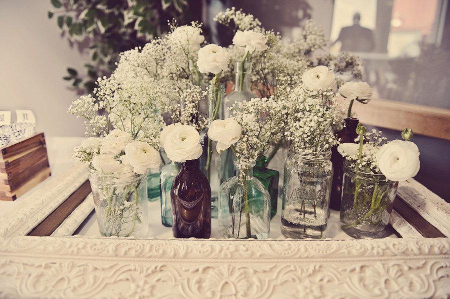 Vintage wedding reception flowers white centerpieces mason