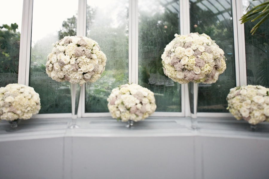 romantic wedding reception flowers topiary centerpieces