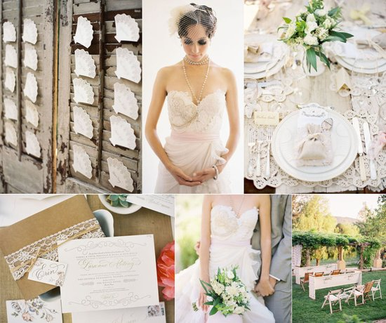 romantic outdoor wedding neutral wedding colors ivory khaki lace details