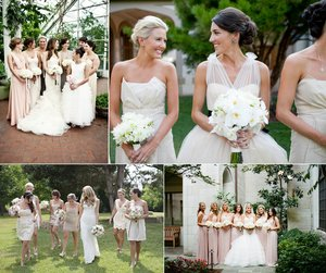photo of neutral bridesmaids dresses mix and match blush taupe champagne
