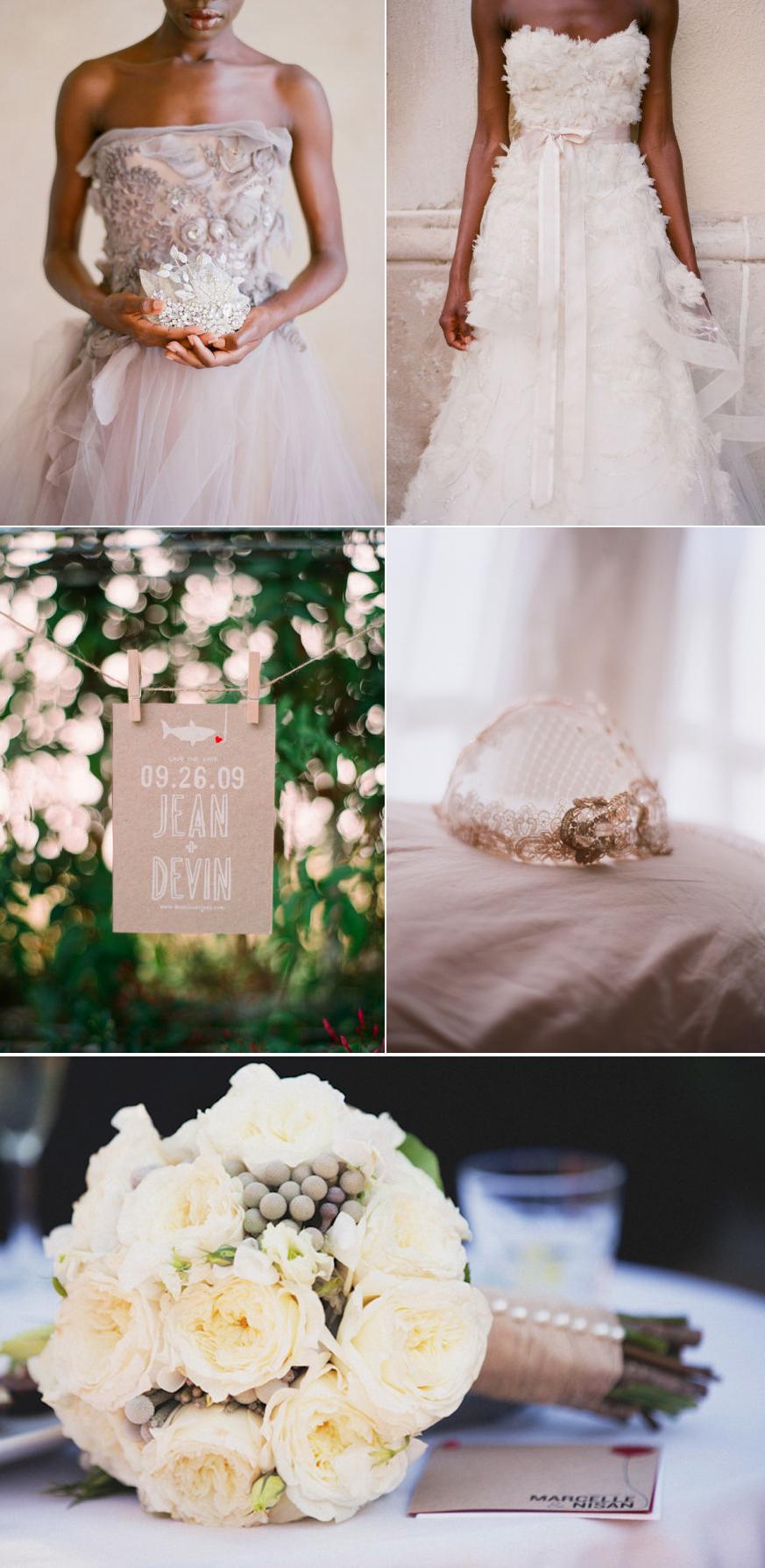 Romantic wedding inspiration neutral color palette ivory for Ivory color wedding dress