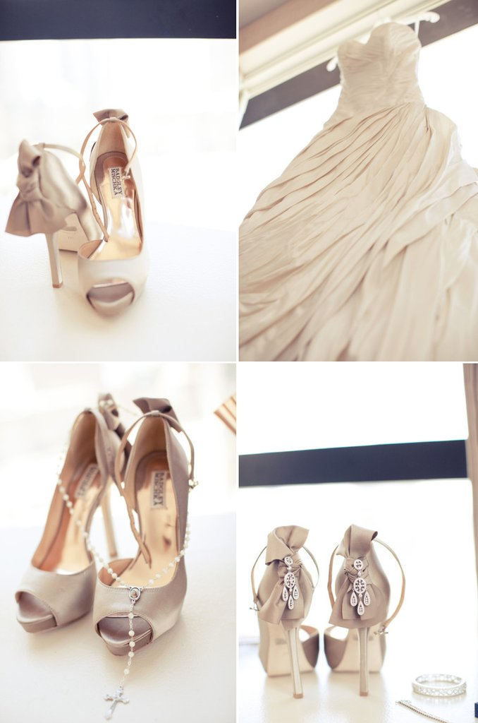 photo of neutral wedding colors elegant downtown wedding badgley mischka shoes