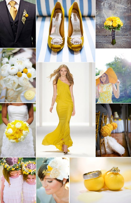photo of spring summer wedding color palettes lemon yellow